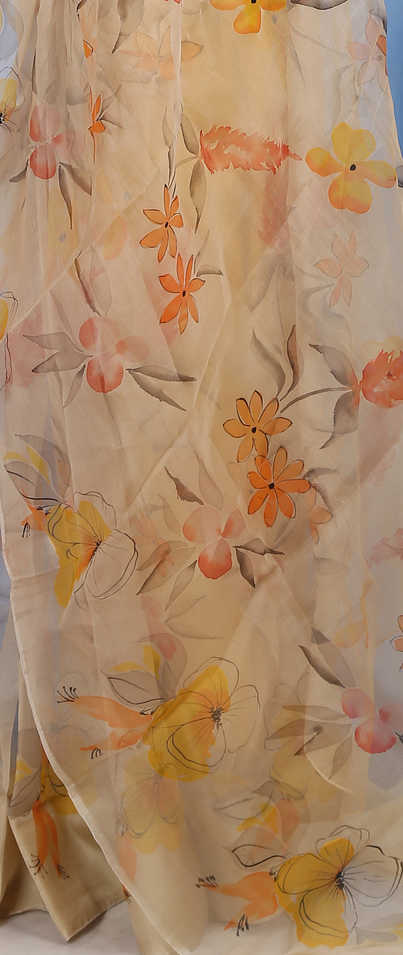 Orange Yellow Magnolia on Pastel Cream Organza