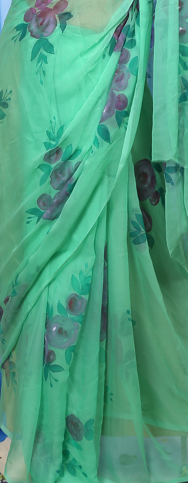 Blue Orchids on Clover Green Organza