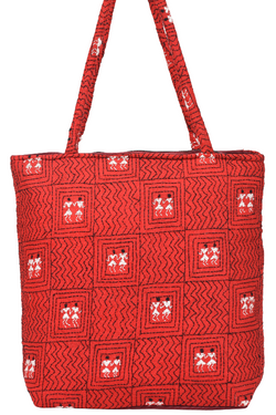 Kantha Hand Bag in Red n White Motifs