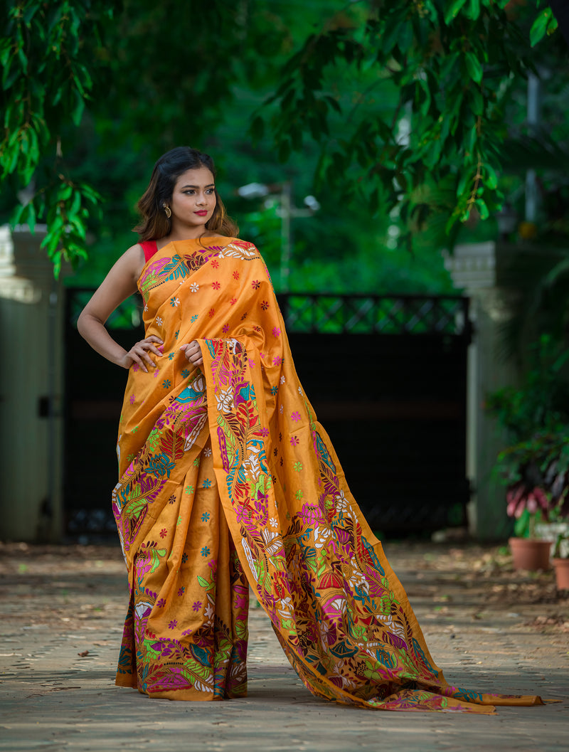Orange Color With Motifs and Floral Kantha Saree