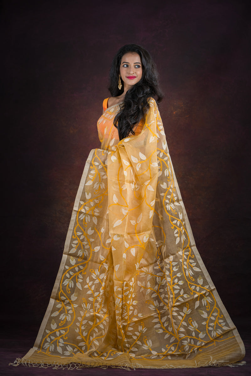Tuscan Yellow Floral Needle Weave Silk Jamdani Saree