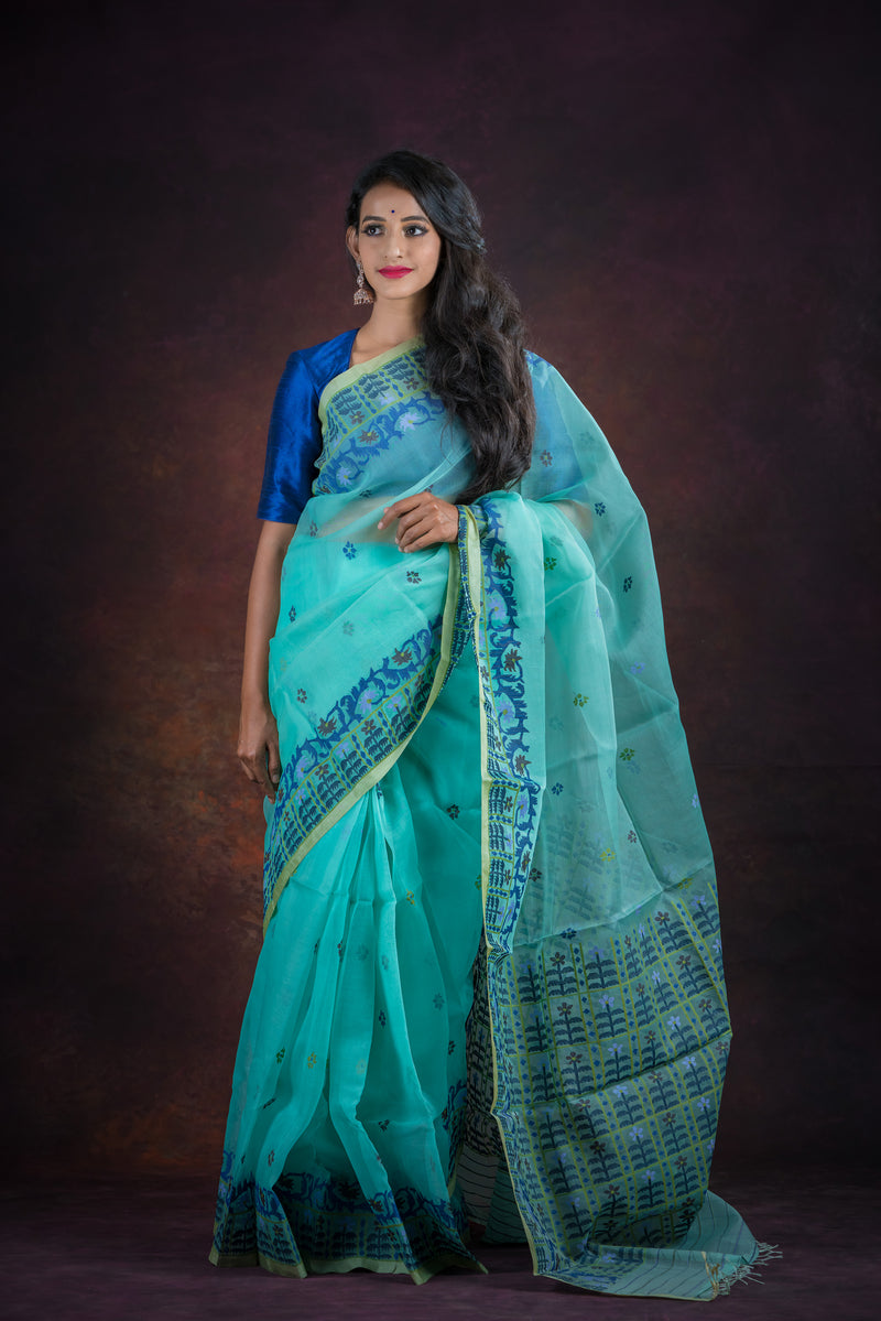 Cyan Blue Floral Needle Weve Silk Jamdani Saree (ILJ-102 )