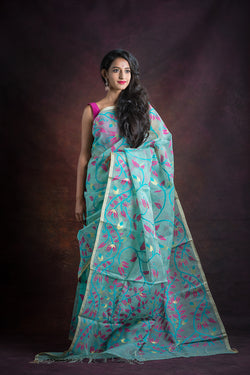 Teal Pink Floral Needle Weave Silk Jamdani Saree (ILJ-107 )