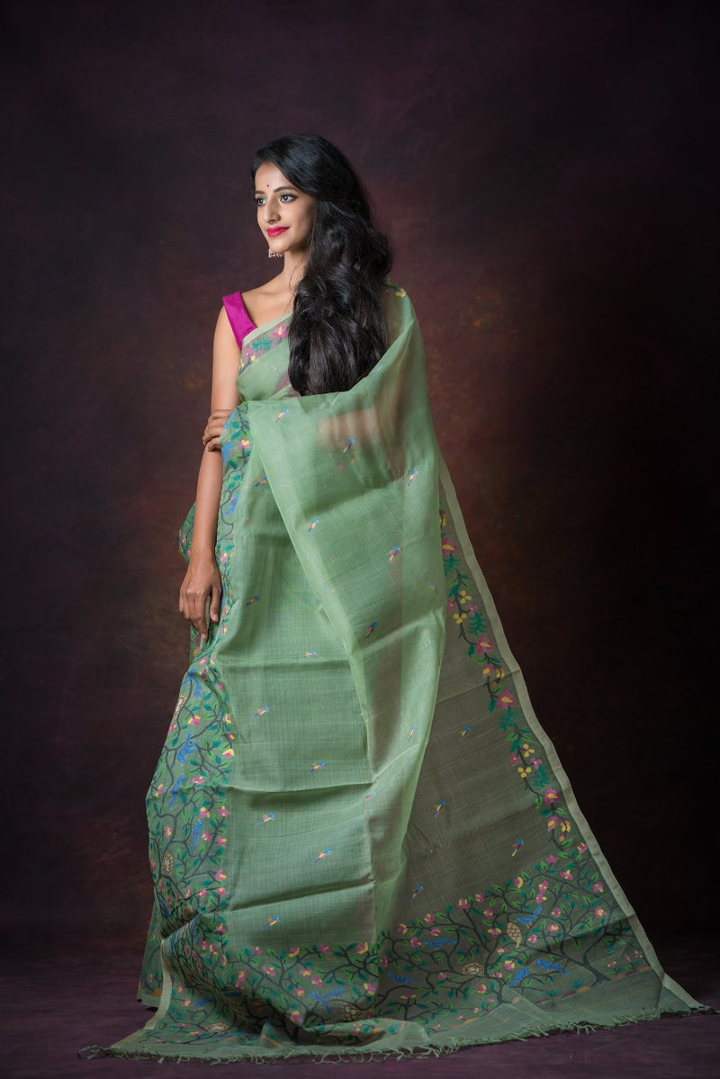 Pear Green Floral Needle Weave Silk Jamdani Saree (ILJ-101 )