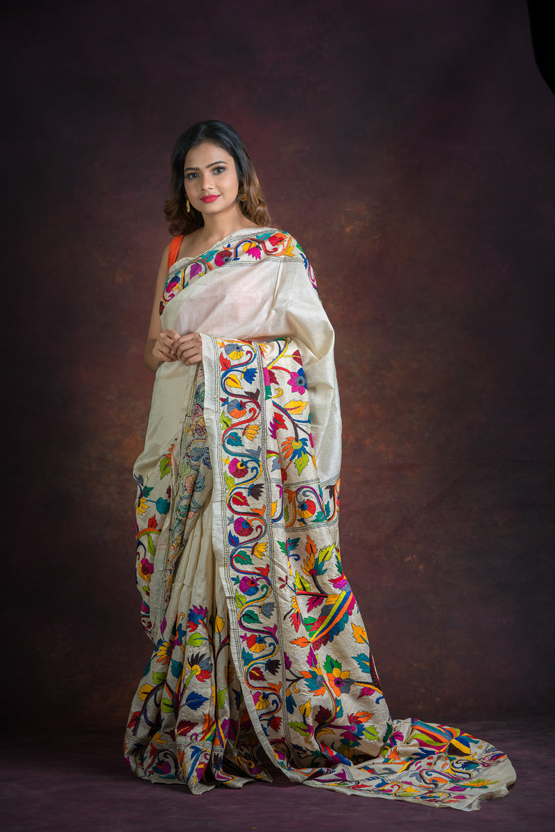 White color with Floral Kantha Saree( IL-502 )