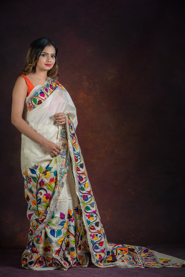 White color with Floral Kantha Saree