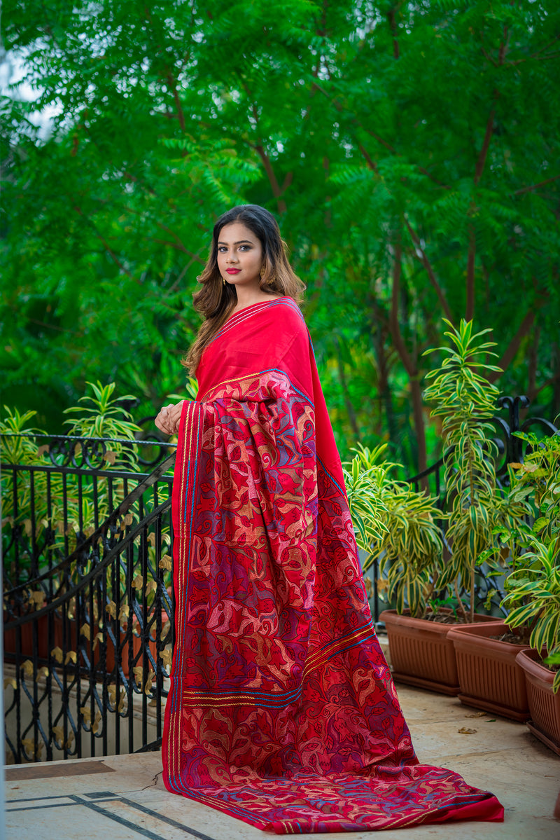 Maroon Color with Floral Kantha Saree ( IL-505 )