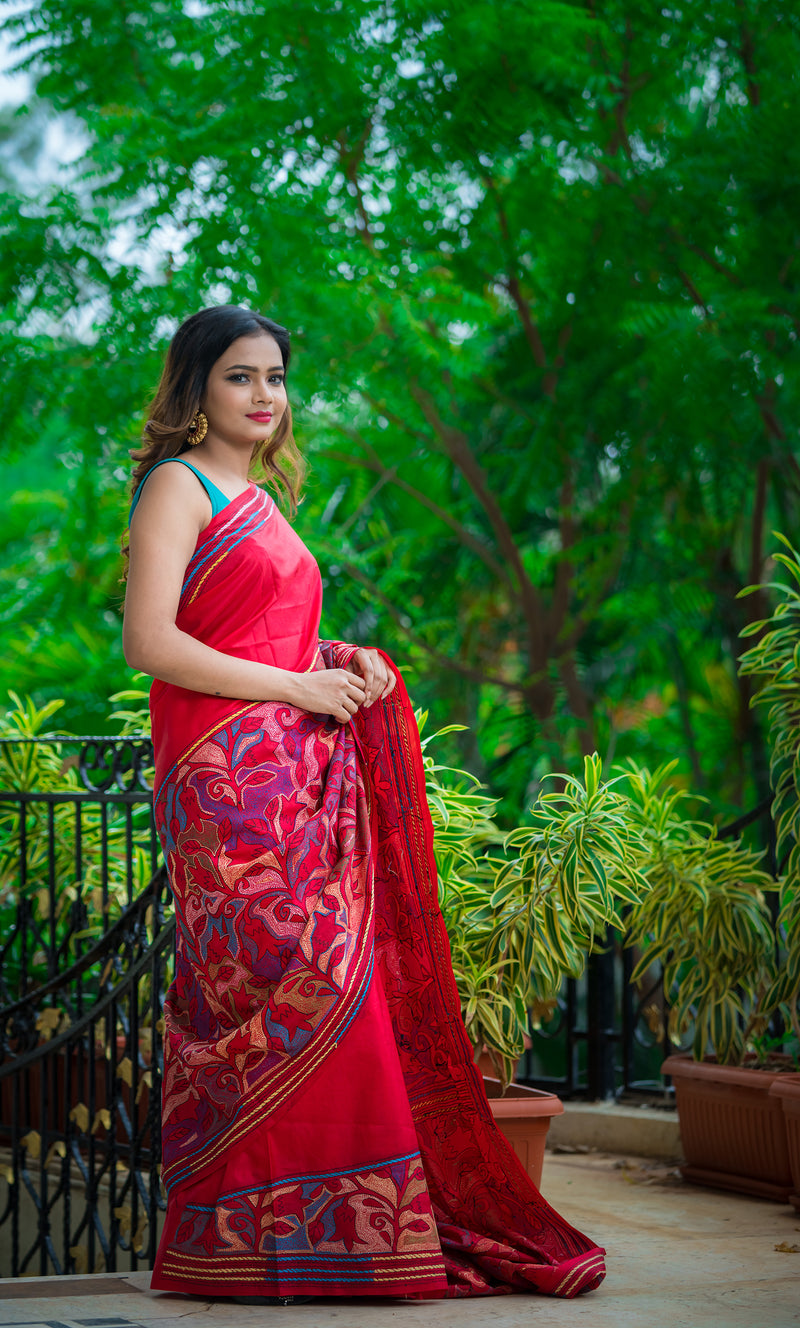 Maroon Color with Floral Kantha Saree