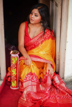 Hand Batik Saree With Red Border and Yellow