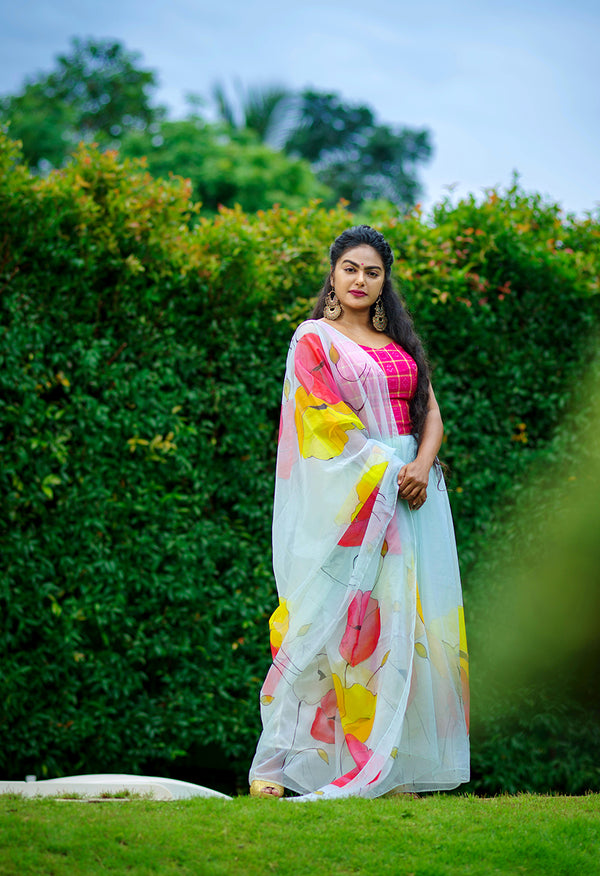 Ivory White with Multi Color Floral Organza  Saree