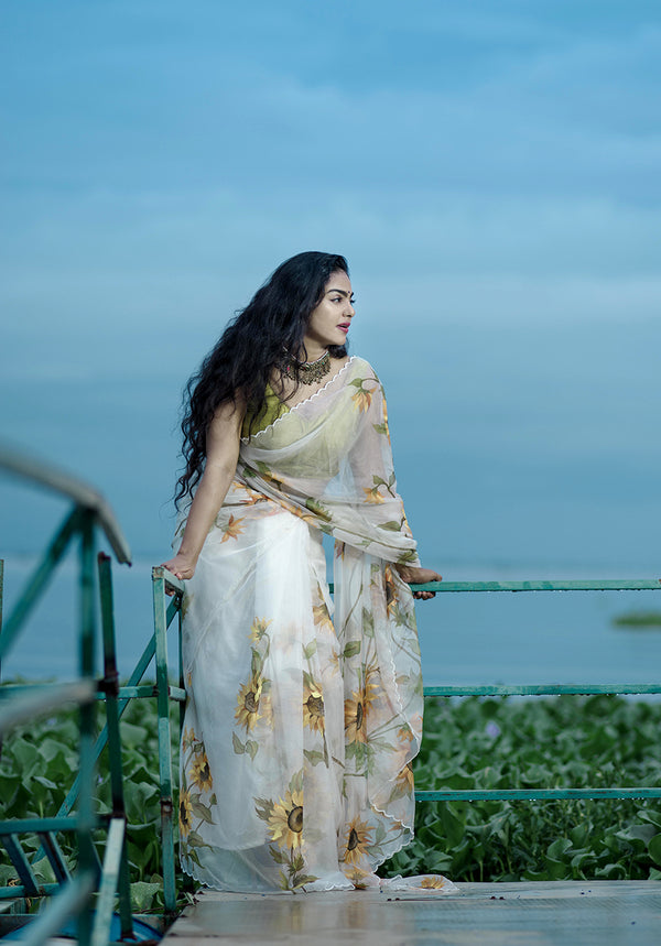 Ivory White With Sunflower Floral Organza Saree