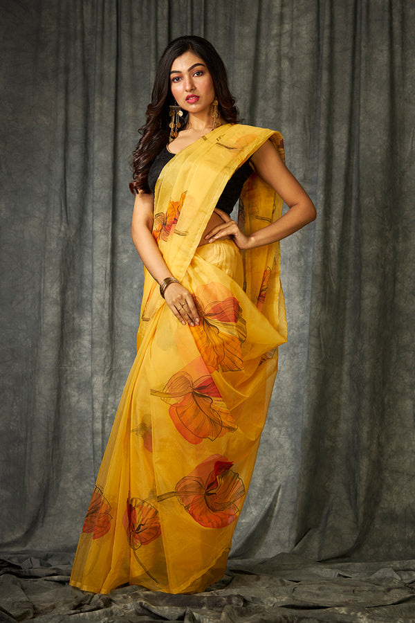 Saffron Yellow on Floral Organza Hanpainted Saree