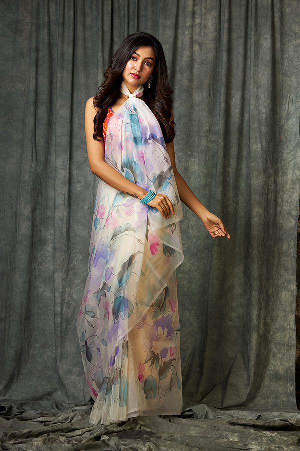 Multi Color  Handpainted Saree on Jasmine White