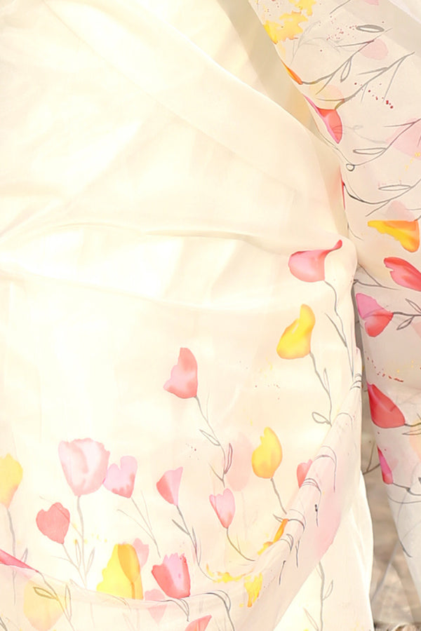 Multi Color Floral Handpainted Pure Silk Organza