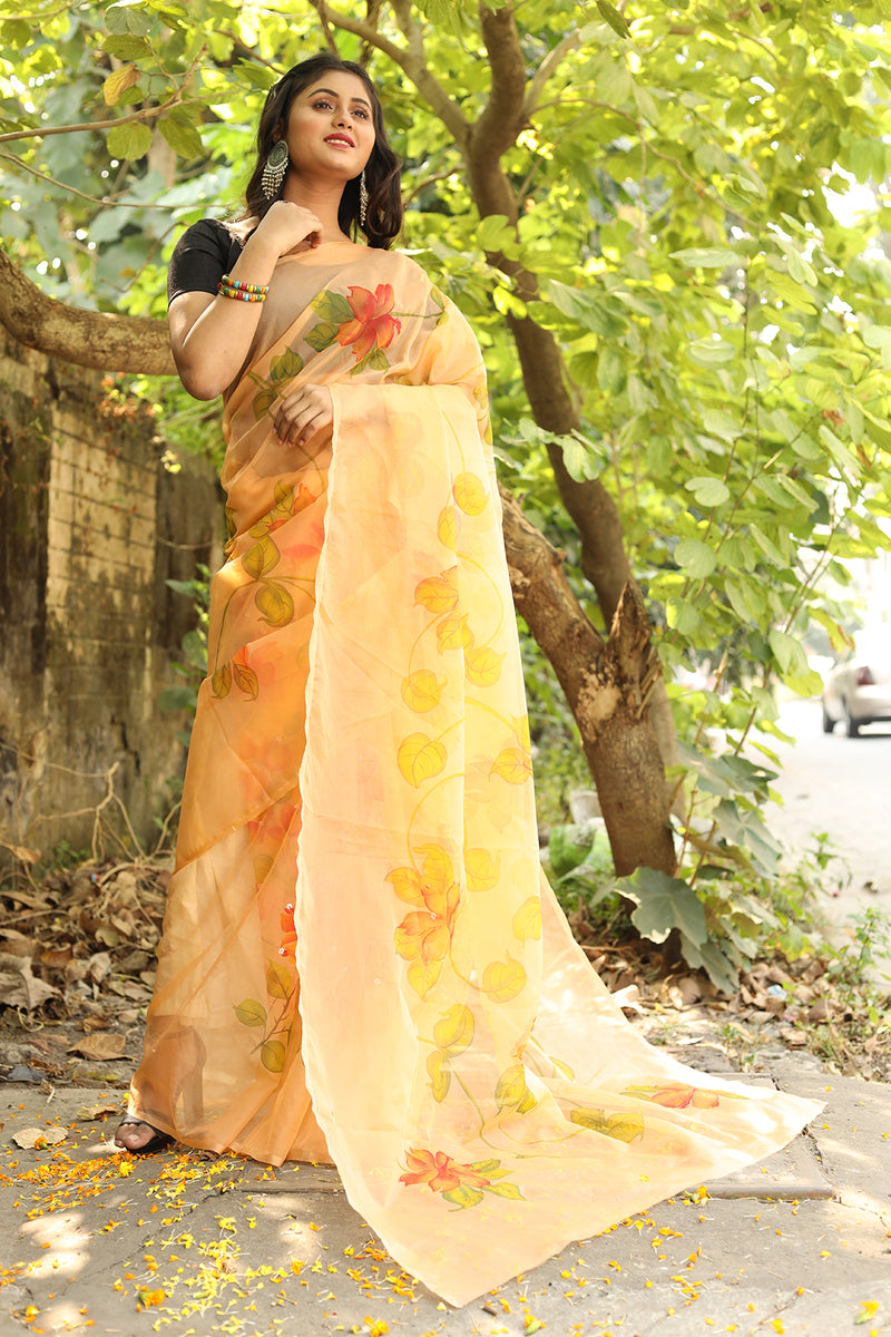 Eclusive Florals on Organza Saree