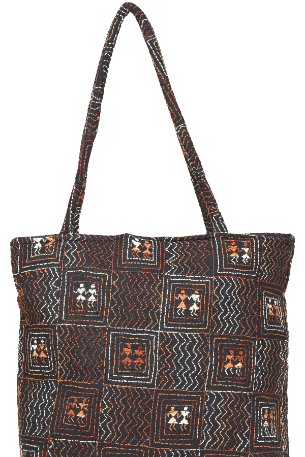 Kantha Hand Bag in Black and Multi color