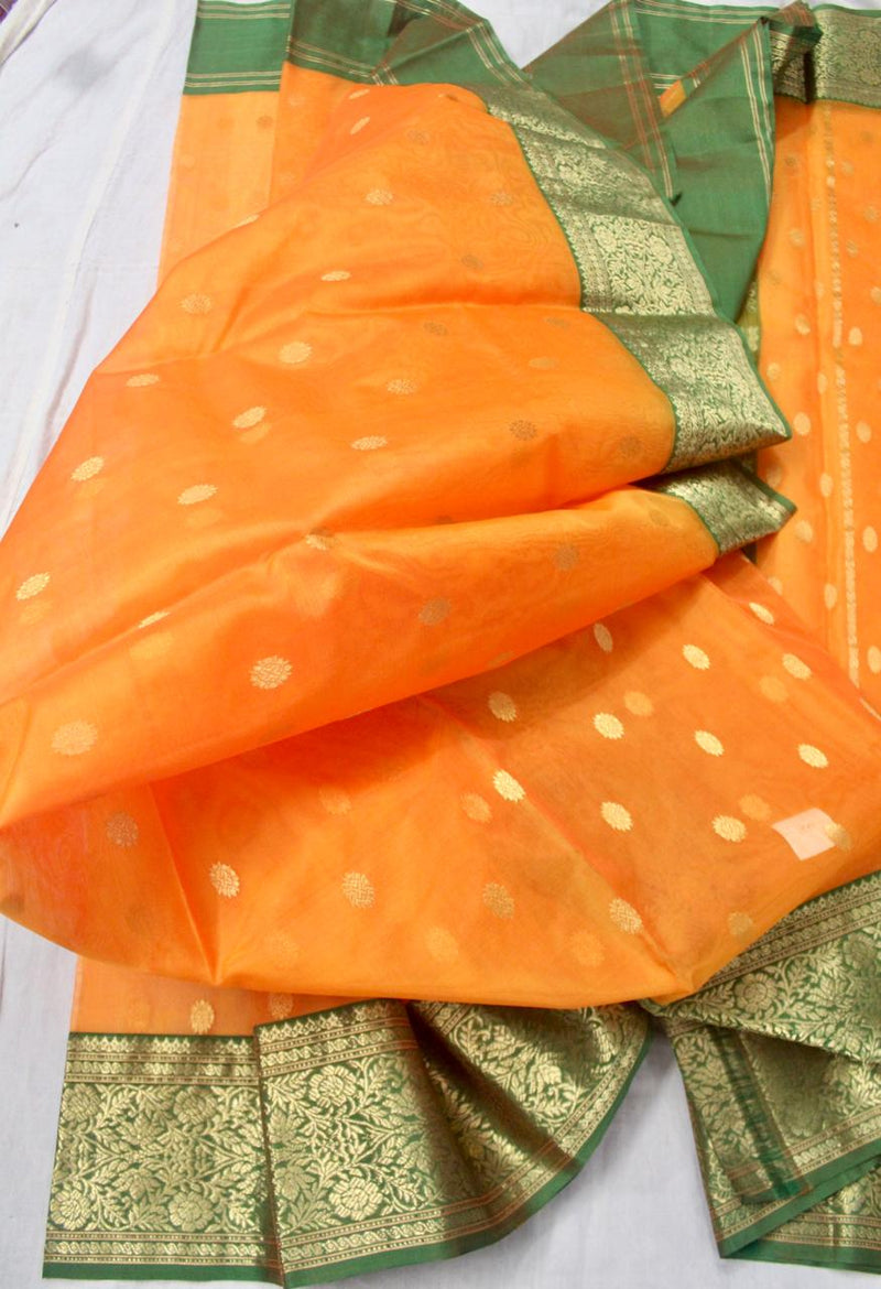 Chanderi Silk Kataan Nakshi Saree With Ghani Butti