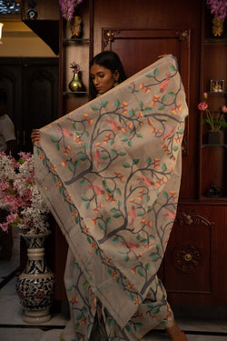 Paradise of Birds and Flower Silk Jamdani (ILJ-110 )