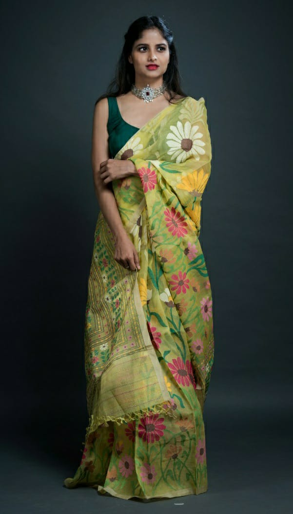 Exclusive 12 Color Floral Design Jamdani Saree (ILJ-113 )