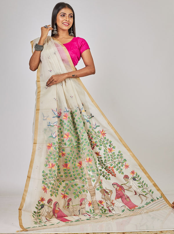 AWARD WINNING DESIGN-TREE OF RURAL LIFE  SILK JAMDANI (ILJ-131 )