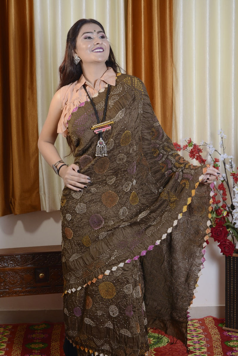 Munga Silk Multi Color Bharti Bandhej Saree