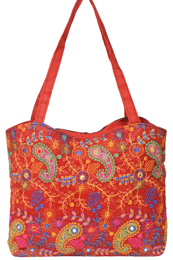 Hand Bag in Red Multi Colored Paisley Florals