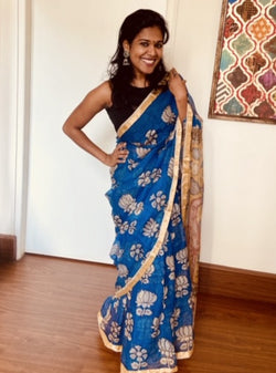 Pen Kalamkari Blue Lotus  Garden  And Swams on Pallu  In Kota Doria Silk (ILK-103)