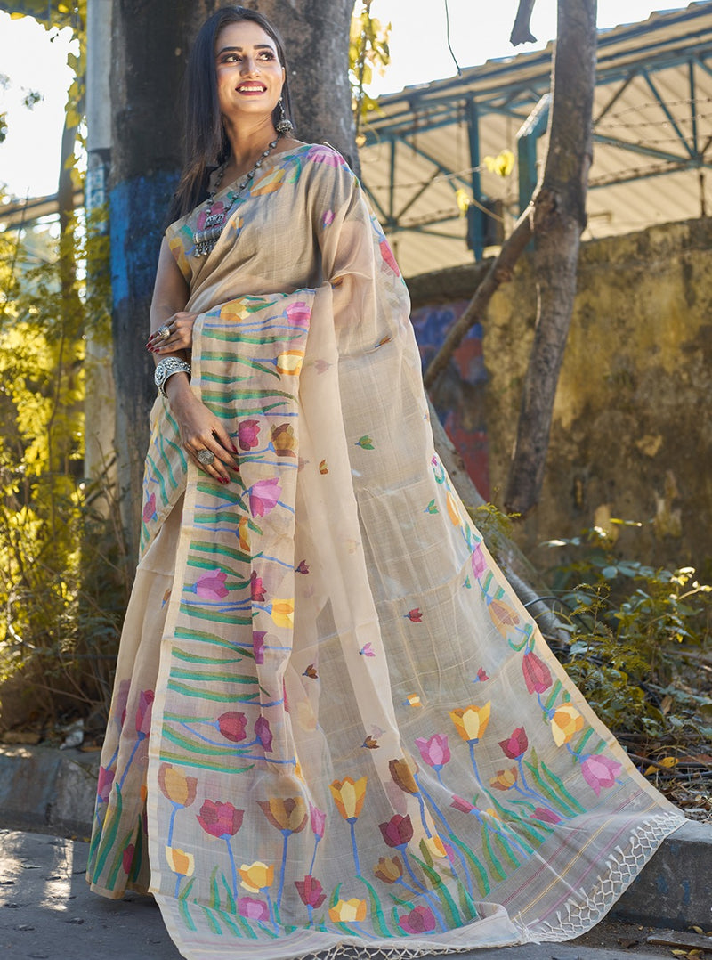 CREAM MULTICOLOR TULIP GARDEN  SILK JAMDANI (ILJ-123 )