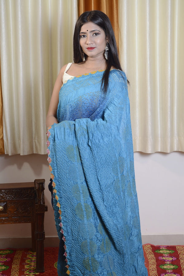 Munga Silk Multi Color Bandhej Saree in Blue