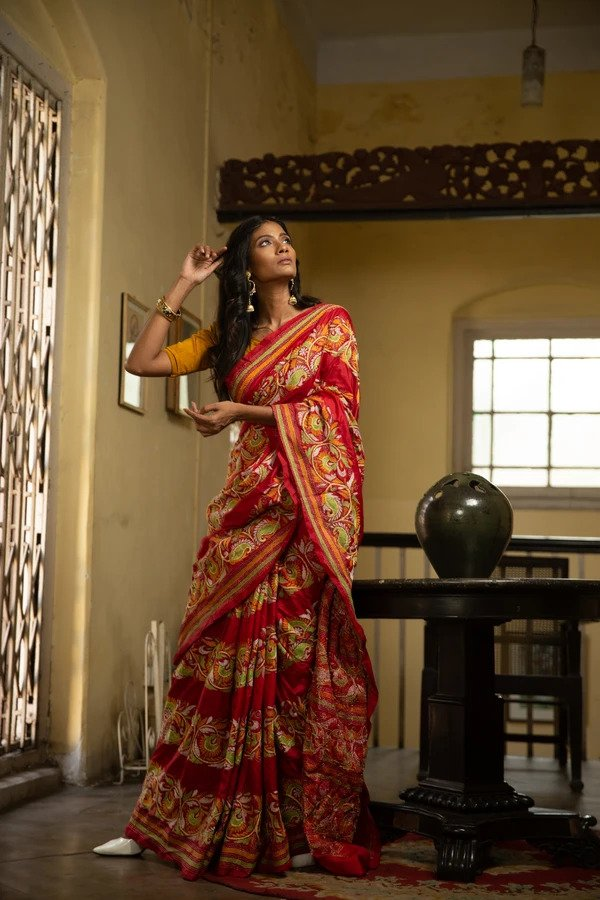 Kantha Stitched Saree With Bangalore Silk (IL-427)