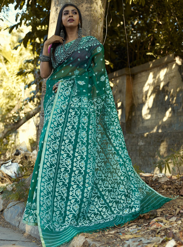 FOREST GREEN, WHITE ALL OVER FLORAL SILK  JAMDANI (ILJ-121 )