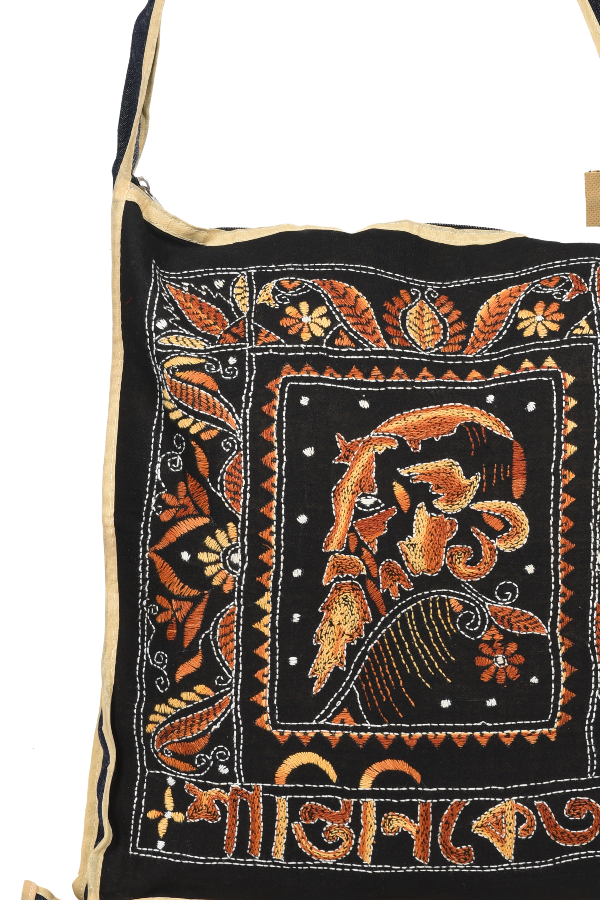 Kantha Hand Bag in Black and Yellow