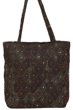 Kantha Hand Bag in Black and Night Sky Stars