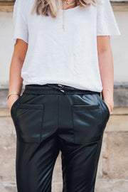 Abby Mom Pants Vegan Leather Black
