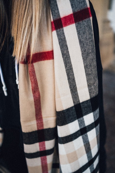 Fay Scarf Checkered Beige