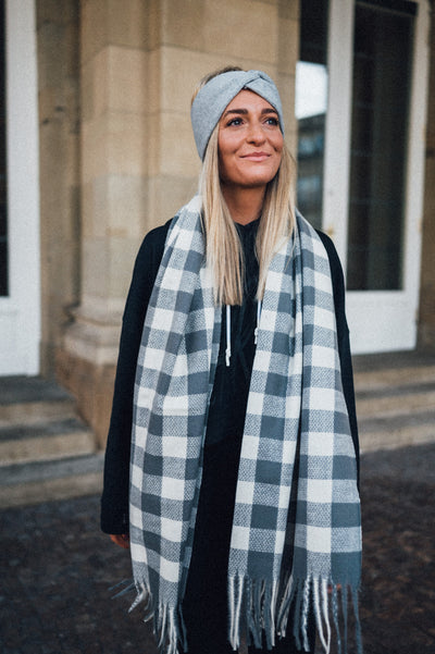Emy Scarf Checkered Grey
