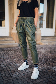 Coco Pants Vegan Leather Khaki