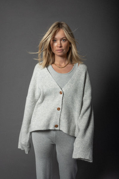 Bobby Knit Cardigan Mid Grey