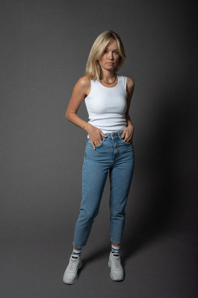 Denim Mom Pants Mid Blue