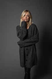 Rita Knit Cardigan Long Anthrazit