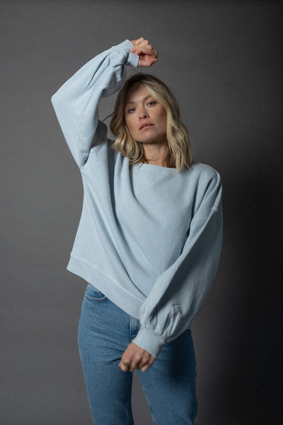 Grace Sweater Acid Washed Light Blue