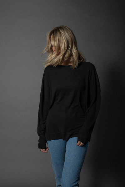 Rome Ribbed Longshirt Black