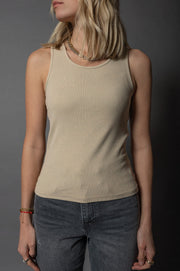 Kyla Ribbed Top Beige