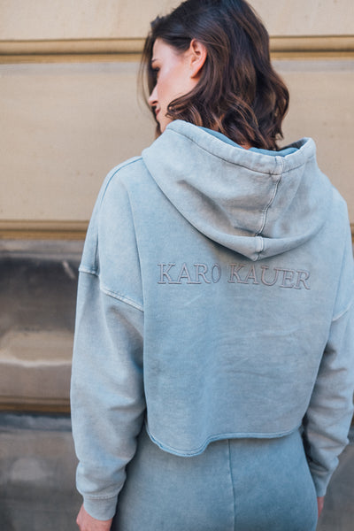 Stella Hoodie Cropped x KARO KAUER Acid Washed Grey
