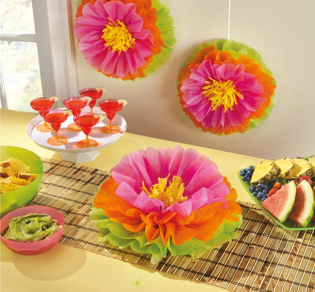 HIBISCUS FLUFFY FLOWER DECORATION 16in, 3pcs - House of Party Kenya