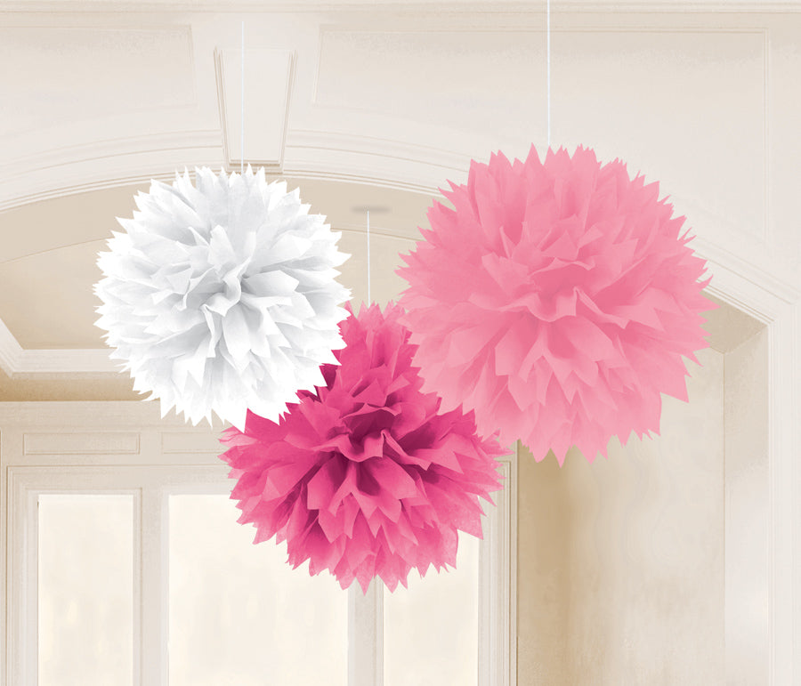 BABY SHOWER GIRL FLUFFY DECORATION 16IN, 3PCS - House of Party Kenya