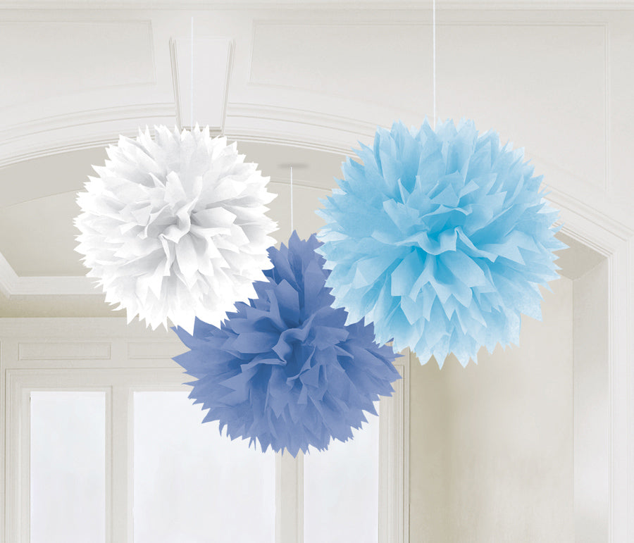 BABY SHOWER BOY FLUFFY DECORATION 16IN, 3PCS - House of Party Kenya