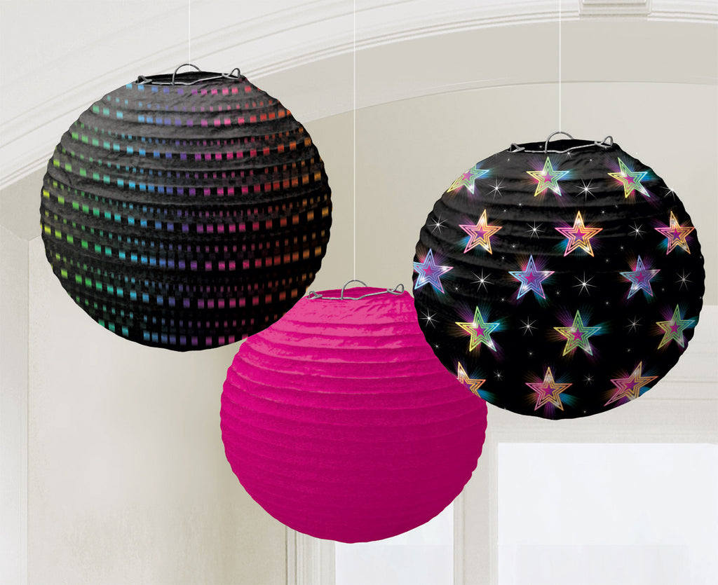 DISCO FEVER ROUND PAPER LANTERN, 3PCS - House of Party Kenya