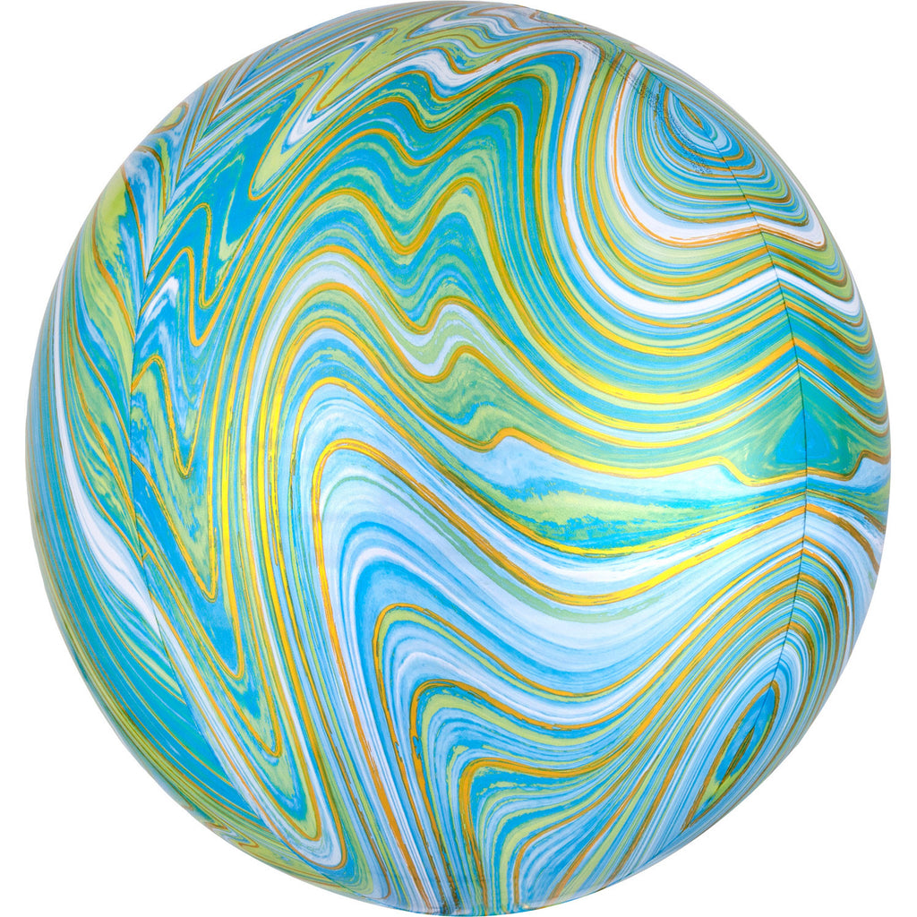BLUE GREEN MARBLE ORBZ FOIL BALLOON - House of Party Kenya