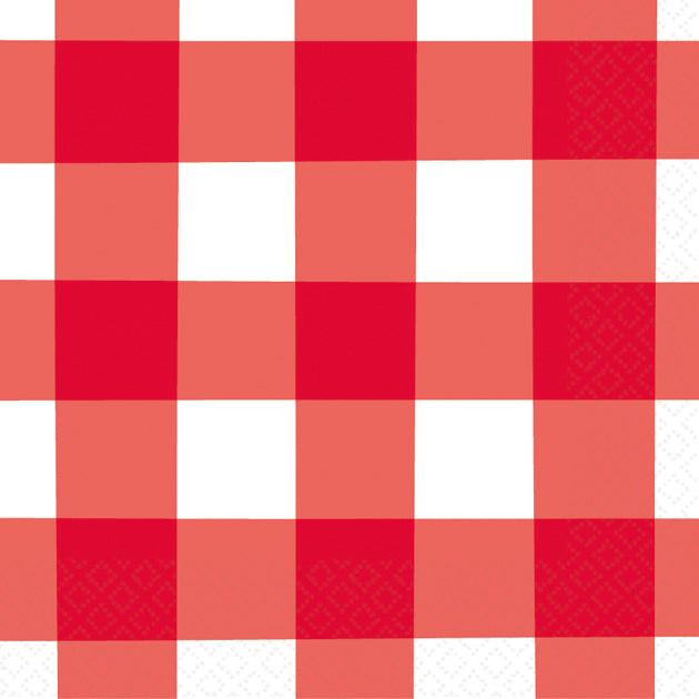 AMERICAN SUMMER RED GINGHAM BEVERAGE NAPKIN WESTERN - House of Party Kenya